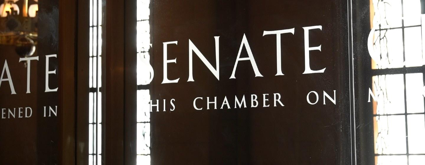 Senate Chamber glass doors