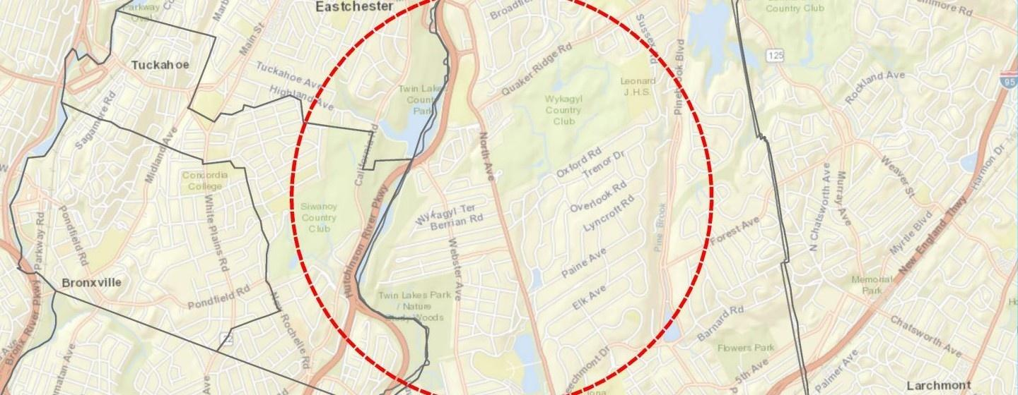 Map of New York State containment area in New Rochelle