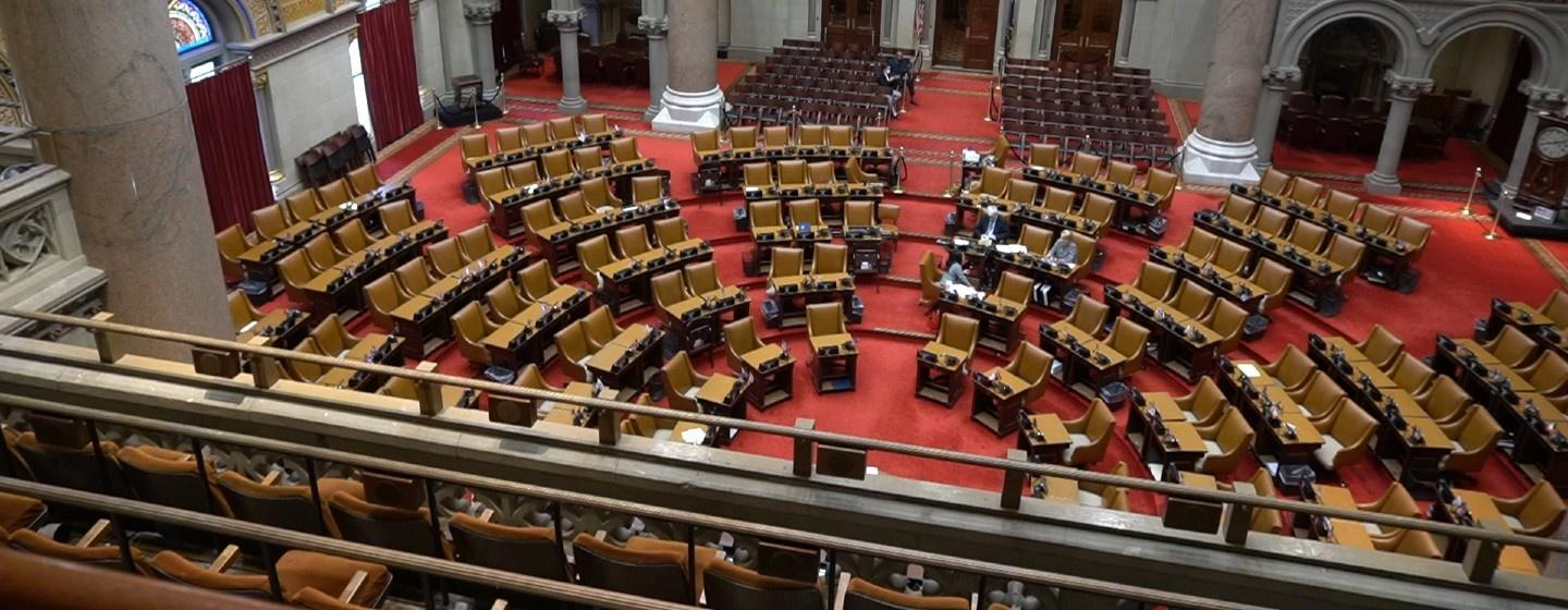 New York State Assembly image with mostly empty seats