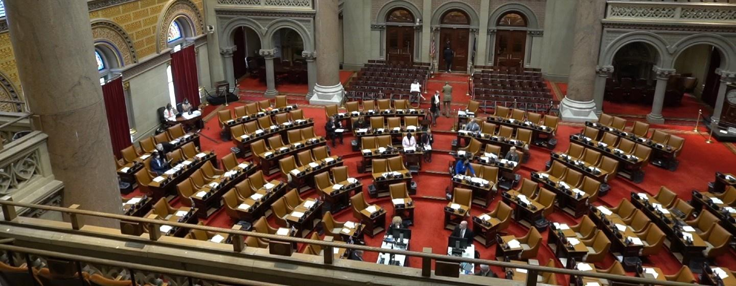 An almost empty New York State Senate chamber is seen