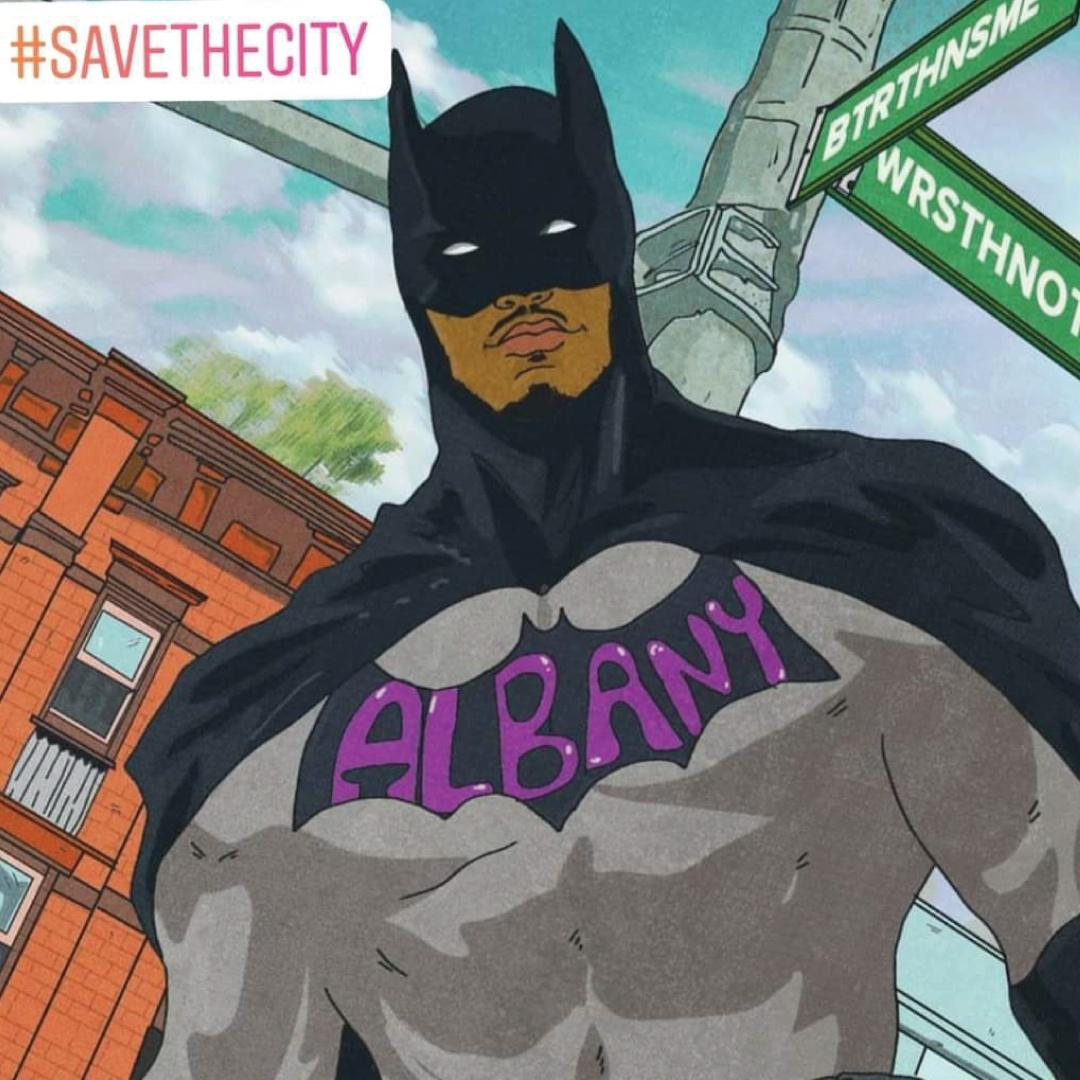 Illustration of Paul Collins-Hackett as BatMan with the Hashtag #SavetheCity in the corner