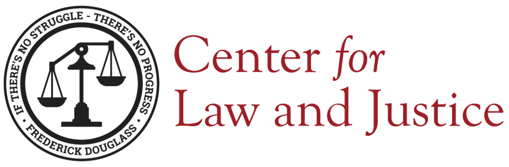 The Center for Law and Justice logo in red and black