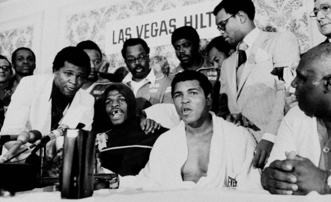 Muhammad Ali speaks at a 1978 post-game press conference.