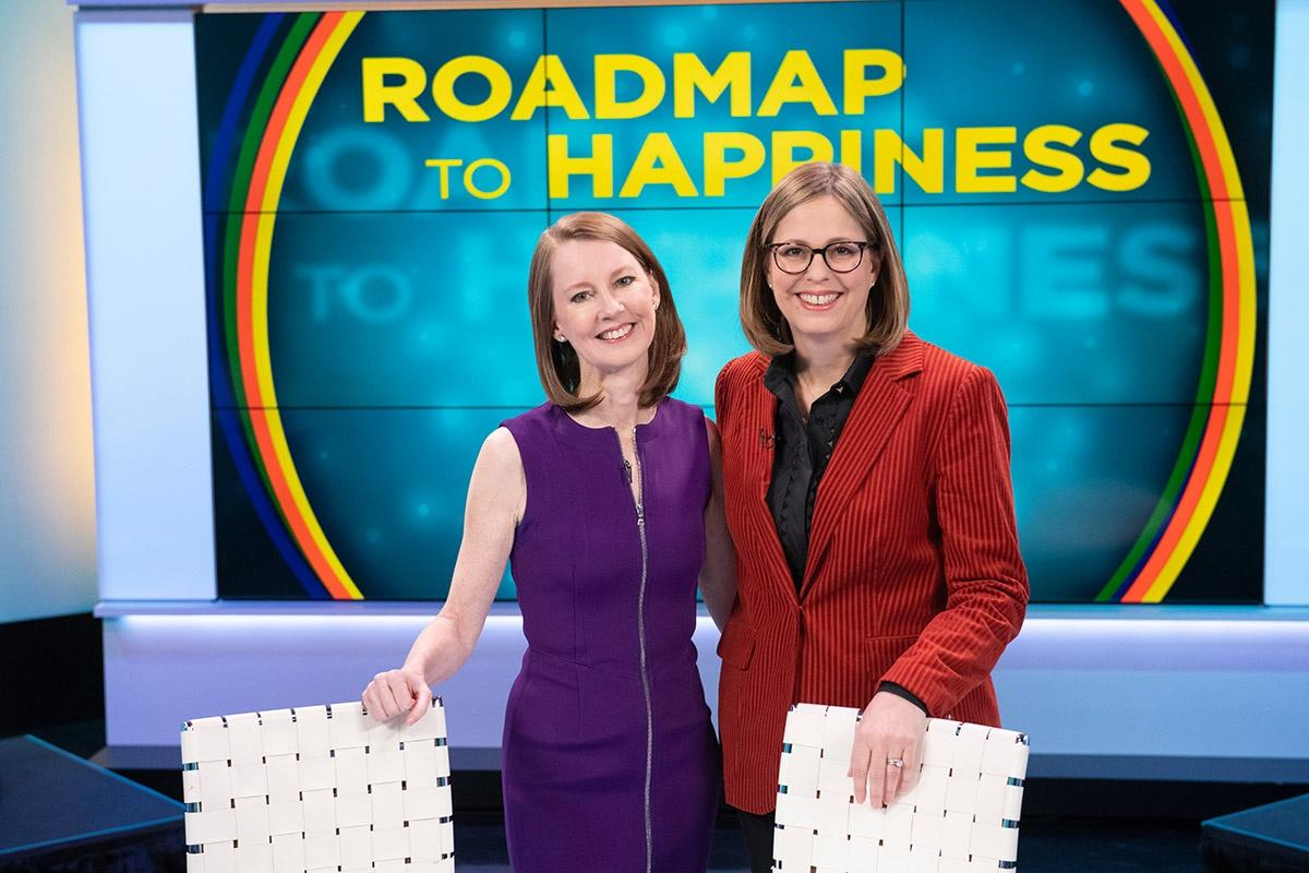Gretchen Rubin and Elizabeth Craft on the set of Roadmap to Happiness