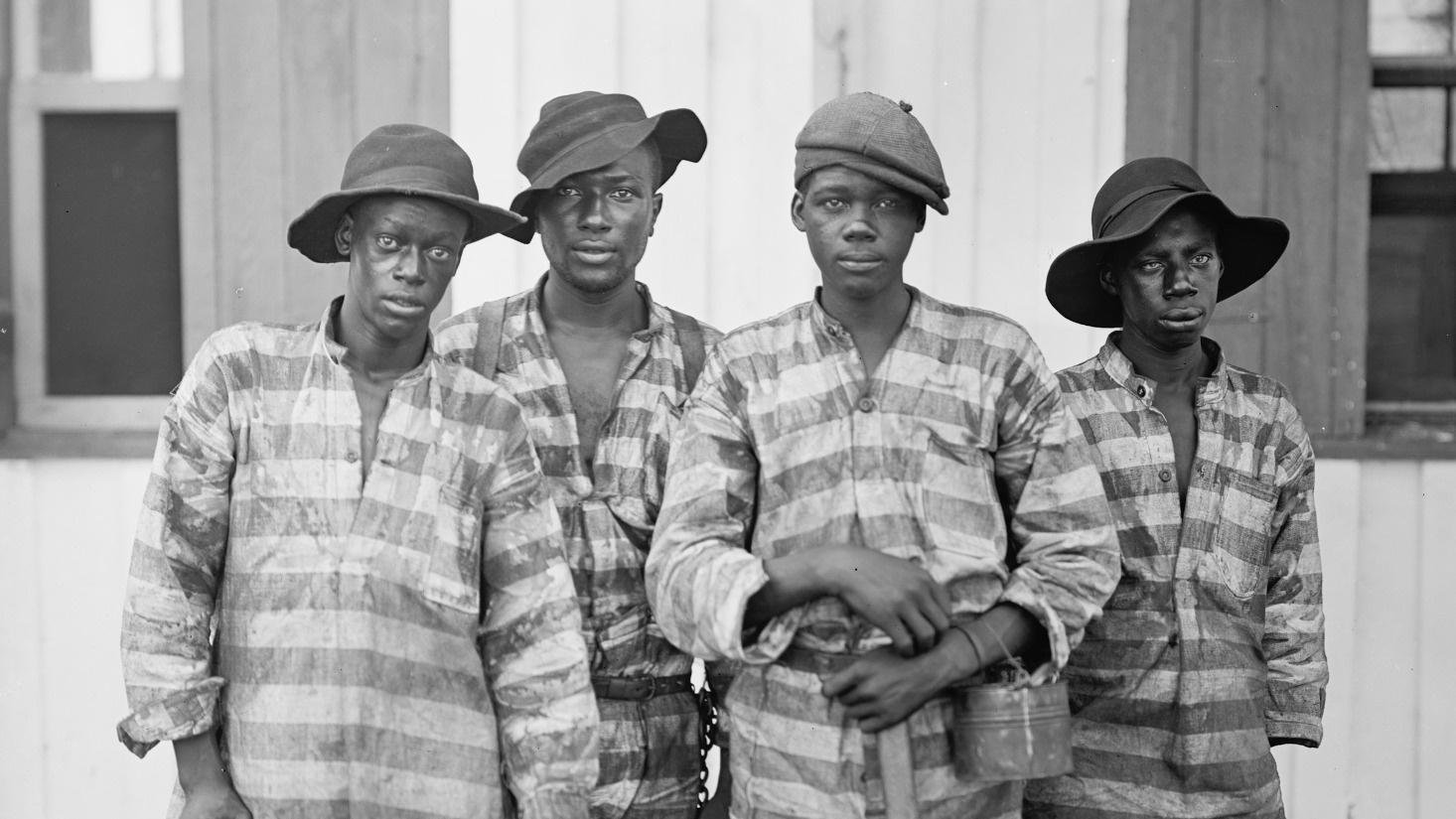 images of reenslavement, including chain gang