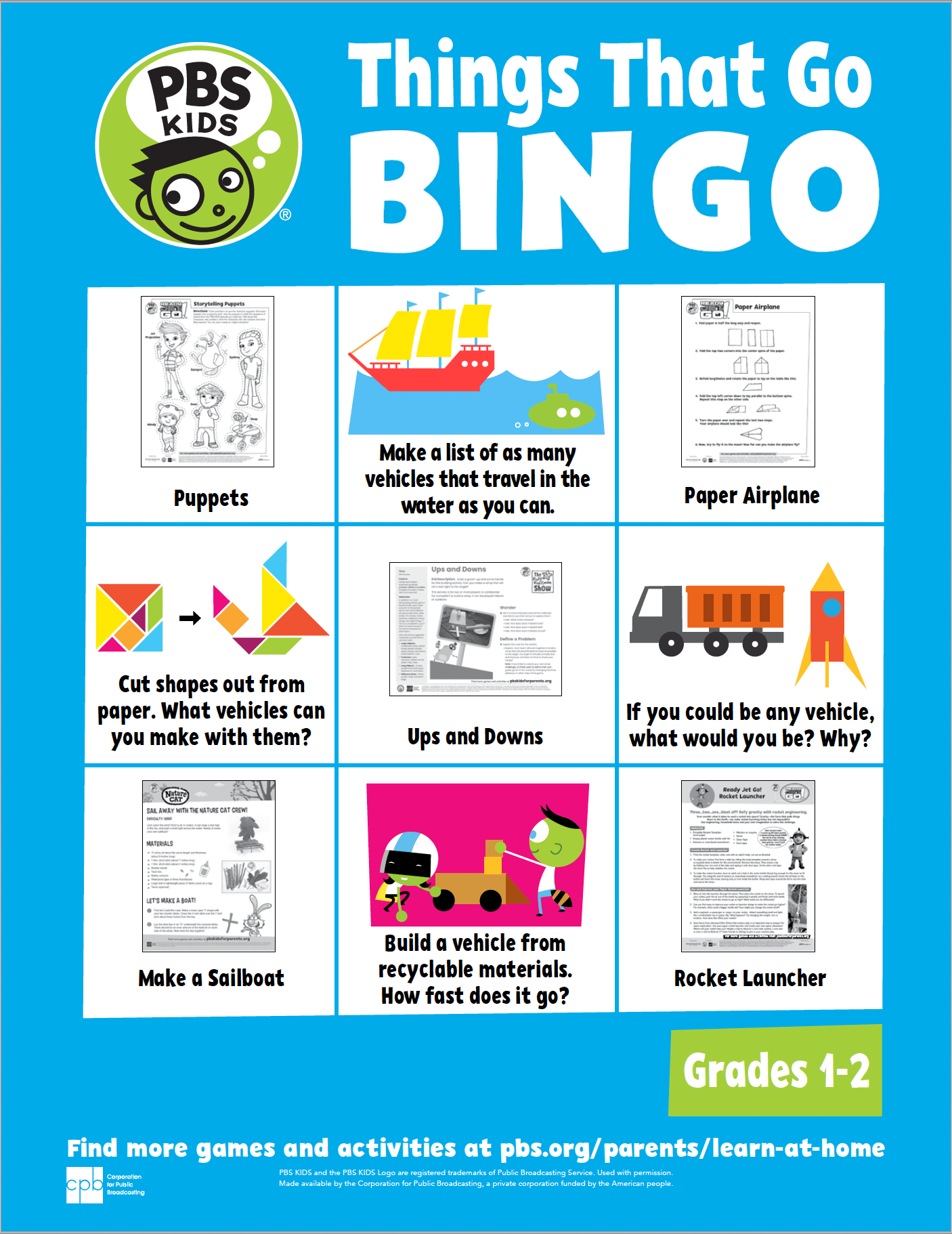 Things that go bingo card