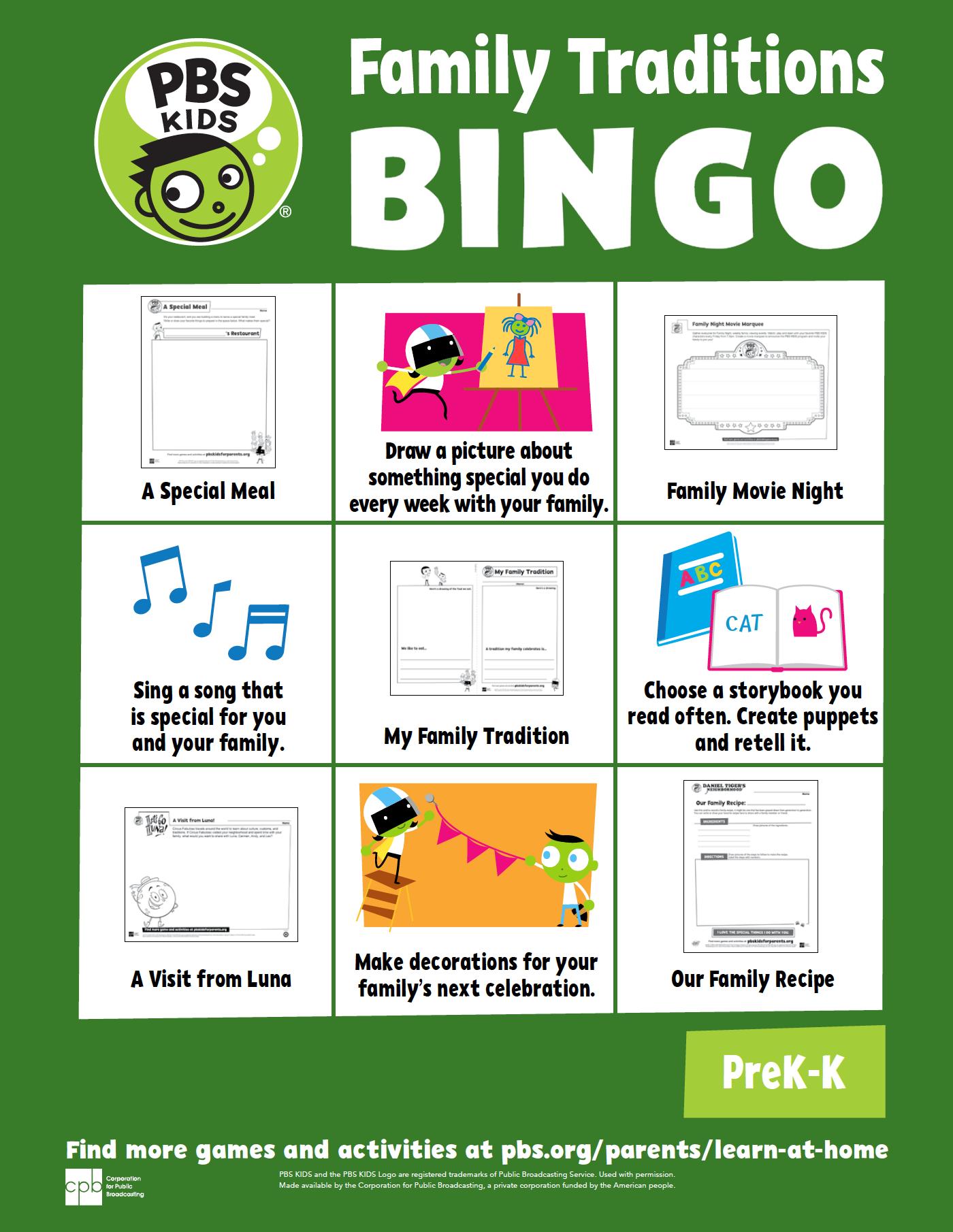 Family Traditions bingo card