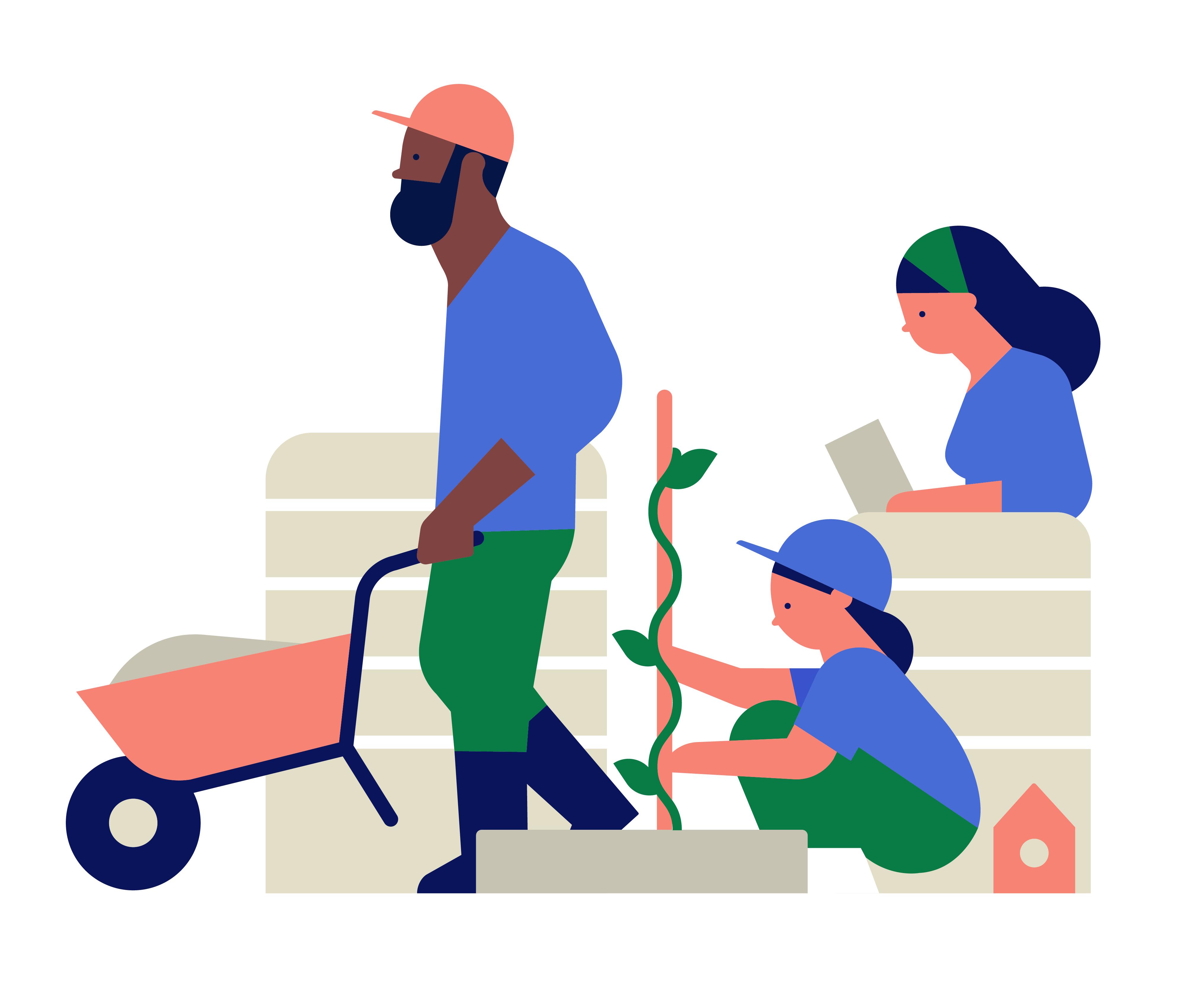 illustration of people working.