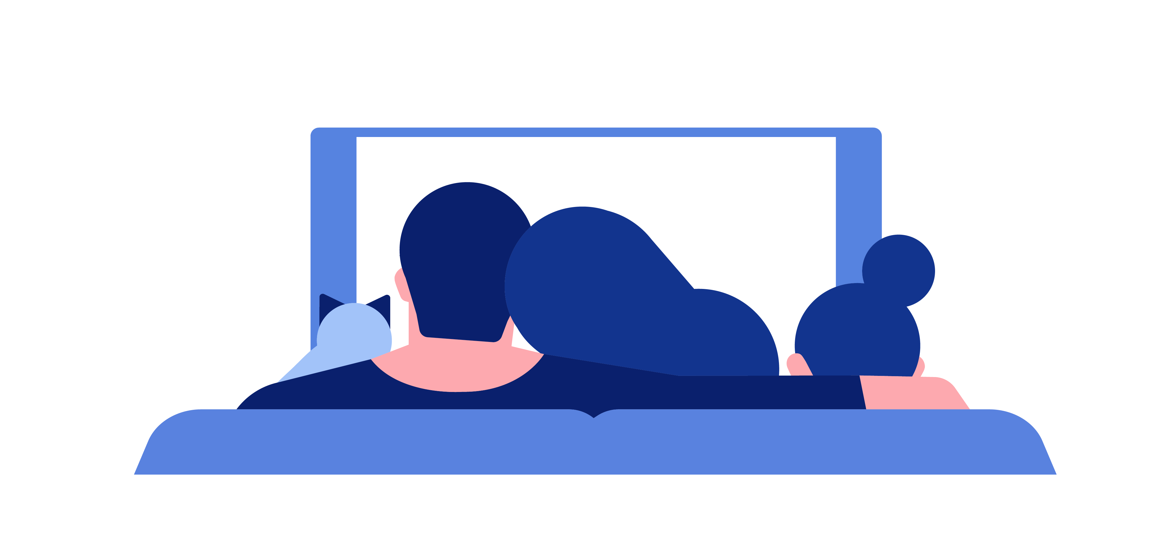 Illustration of three people sitting on a couch watching TV together