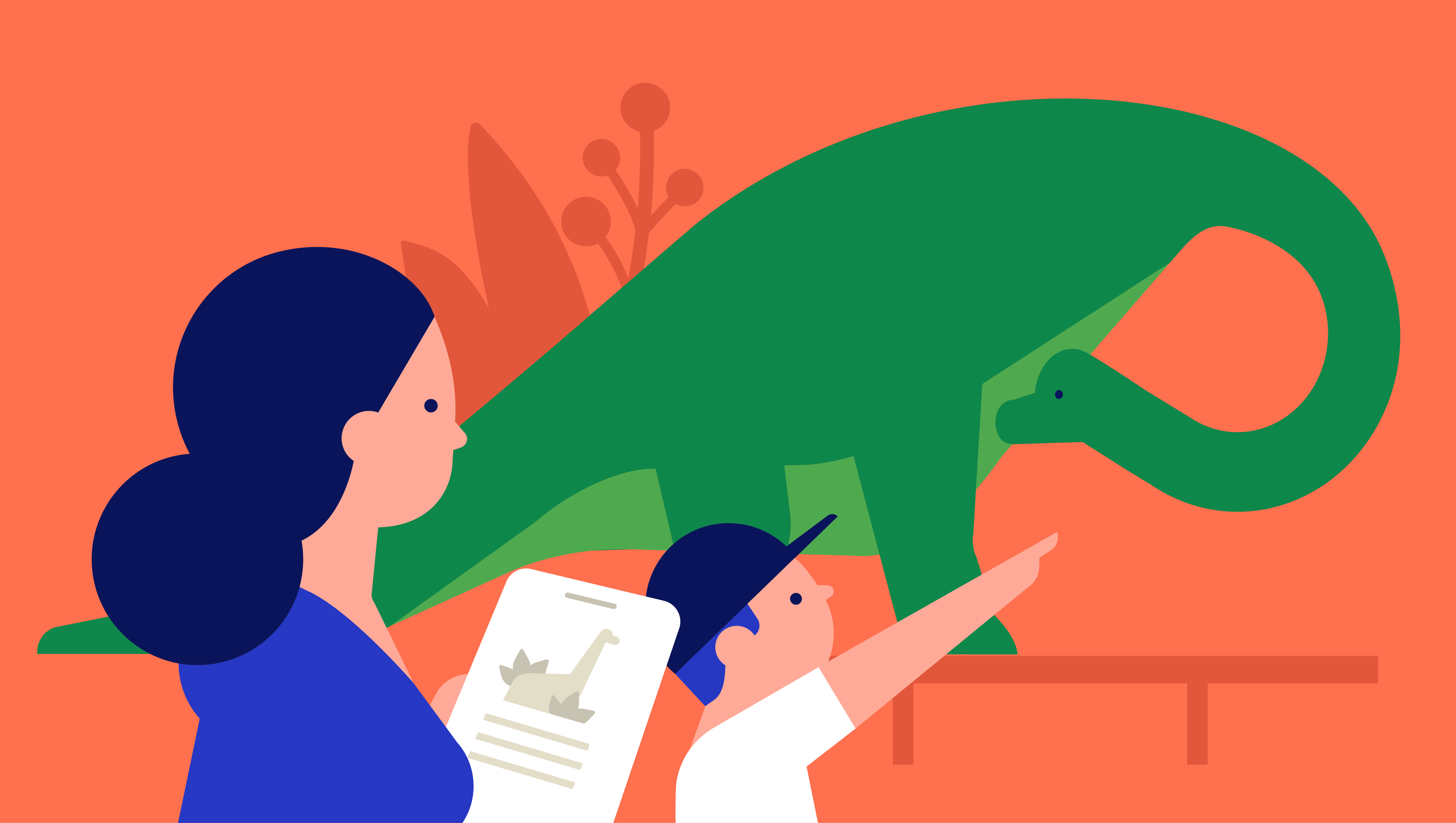 illustration of woman and child looking at a dinosaur in a museum