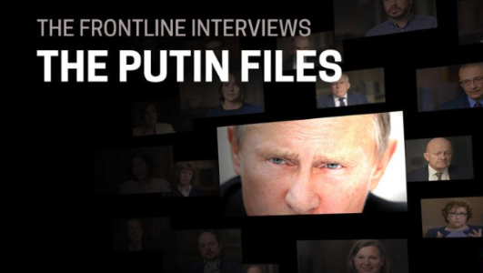 """A graphic of FRONTLINE's transparency project, """"The Putin Files."""""""
