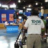 Photograph from behind the camera lens in the PBS Studio B