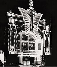 Photo of Butterfly Theater Lit Up the corner of 2nd Street and Wisconsin