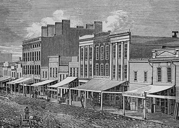 Lithograph of Early Water Street