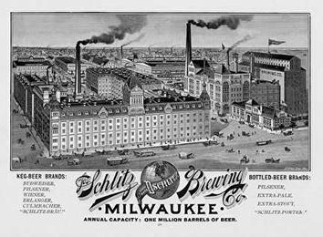 Photo of Schlitz Brewery Building and Logo and Brands