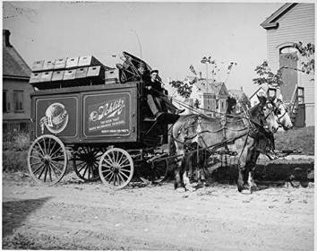 Photo of Horse-Drawn Beer Wagon for Schlitz Brewing Company