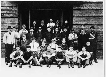 Photo of Workers Portrait in front Allen-Bradley Building