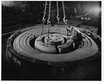 Photo of Man on Foundry Mold at Allis-Chalmers