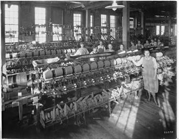 Photo of Women at Machines at National Knitting Company