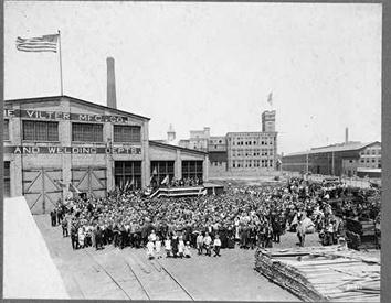 Photo of Vilter Factory Building Exterior with Employees