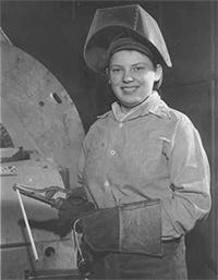 Photo of Female welder at Chain Belt during World War 2
