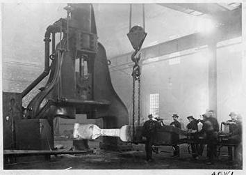 Photo of Red Hot Iron Going Into Forge at Allis-Chalmers