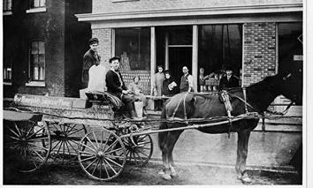 Photo of Keogh Grocery at 522 Clybourn reet. with Horse and Wagon