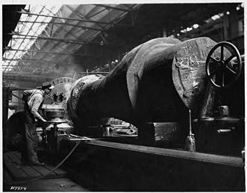 Photo of Man on Lathe at Allis-Chalmers in West Allis in the 1940s