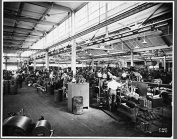 Photo of Shop Floor at Rex Chain Belt in 1937