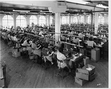 Photo of Women Making Gloves in Shop at Wisconsin Manufacturing Corp.