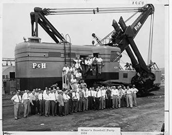 Photo of Harischfeger Employees Miner's Baseball Party in 1954