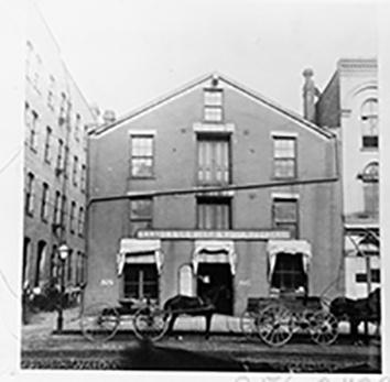 Photo of Layton Beef Building in 1852 and razed 1889
