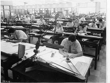 Photo of Engineers at Drawing Tables at Allis-Chalmers in 1940s