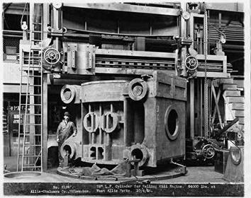 Photo of Cylinder for Rolling Mill with Worker at Allis Chalmers
