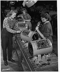 Photo of Women Riveters at Allis-Chalmers in 1940s
