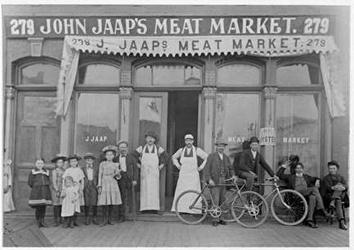 Photo of John Jaap's Meat Market on North Fourth Street in 1889