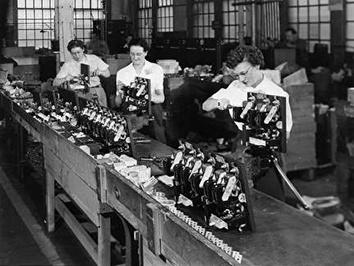 Photo of Women War Workers in Factory During World War II