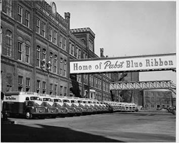 Photo of Line of Trucks at Pabst Brewing Company in 1940s