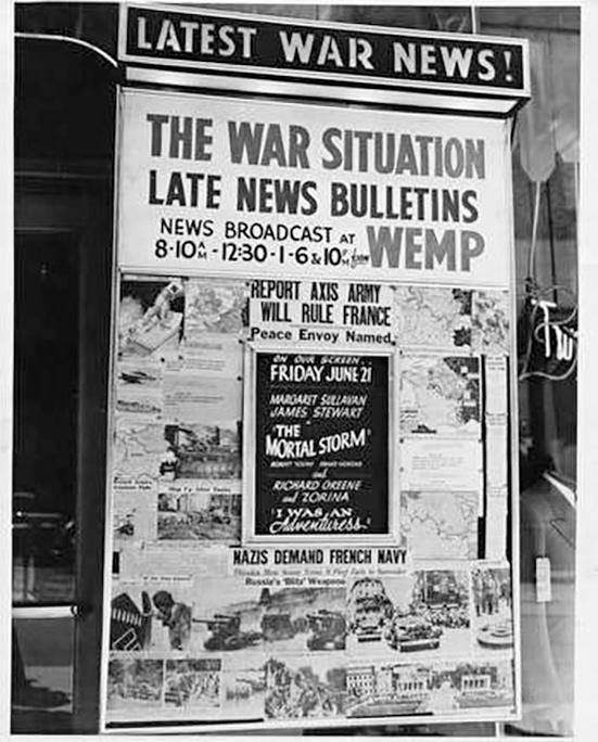 Photo of WEMP Radio Station Poster during World War II