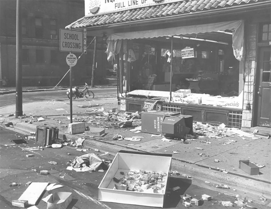 Photo of Aftermath of Race Riots on 3rd Street in July 1967