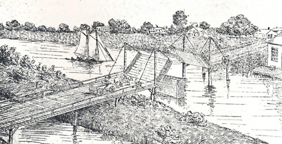 Photo of Chestnut St. Bridge in 1845. Now Juneau Avenue