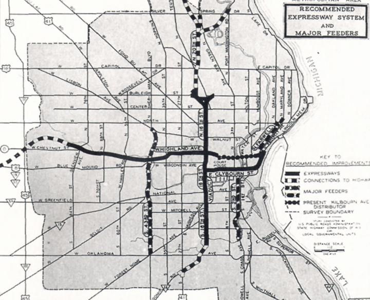 Photo of Milwaukee's first expressway map in 1946