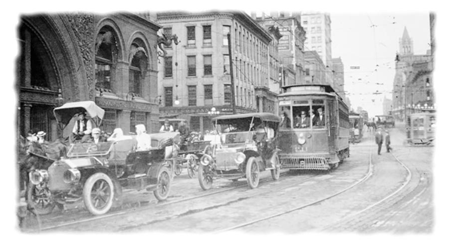 Photo of Water & Wisconsin Ave with Automobiles and Trolleys