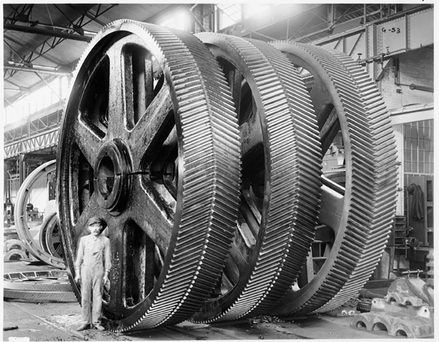 Photo of Falk Corporation Big Gears and Man