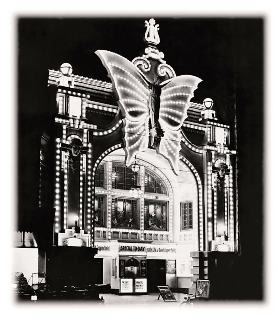 Photo of Butterfly Theater Lit Up the corner of 2nd Street and Wisconsin Ave