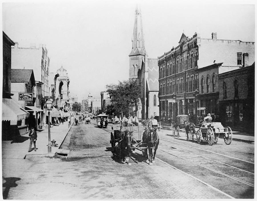 Photo of 6th and Grand Avenue, now Wisconsin Avenue