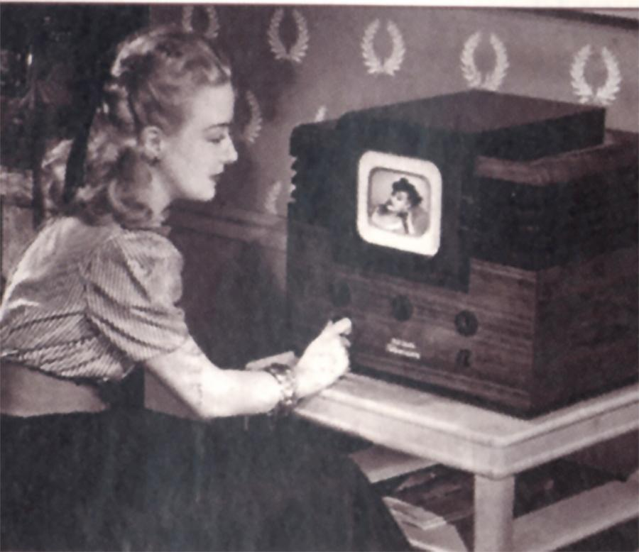 Photo of Woman with New Television Set in the late 1940s