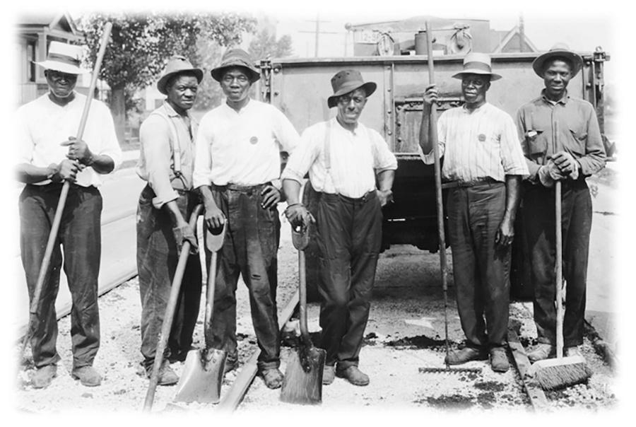 Photo of African American Workers Make up this Asphalt Crew