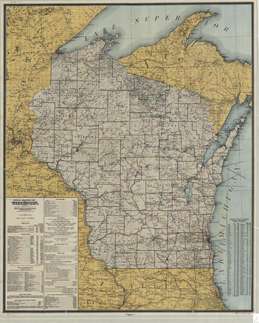 Photo of 1910 Map of Wisconsin