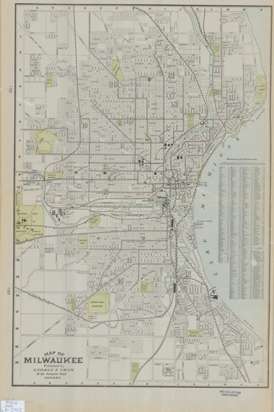 Photo of Map of Milwaukee County Published by George Cram in 1901